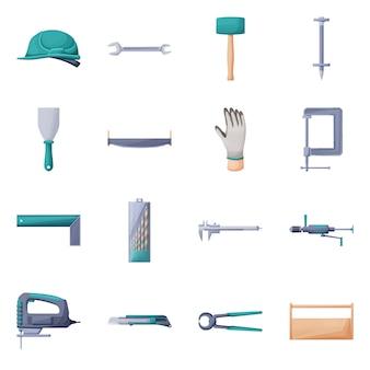 手芸漫画アイコンの職業装備。修理のための隔離された図ツール。ヘルメット、レンチ、ハンマー、ダボ、ヘラのアイコンセット。