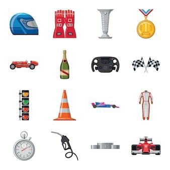 レースカー漫画のアイコンを設定します。スポーツレースのイラスト。