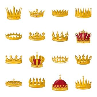 Корона мультфильм значок набор. иллюстрация золотой короны.