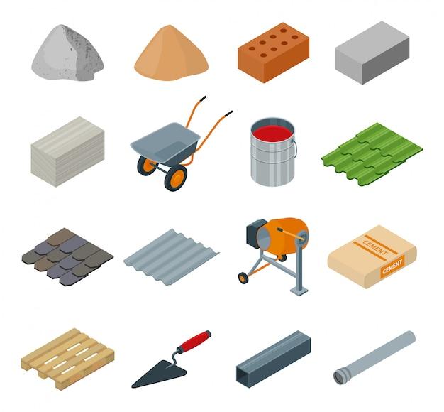 Строительный материал изометрические установить значок. иллюстрация строительный материал на белом фоне. изолированный шарж установил строительное оборудование значка.