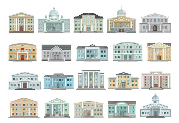 政府漫画の建物のアイコンを設定します。孤立した漫画は、アイコンのアーキテクチャを設定します。白い背景の上の政府のイラストの建物。