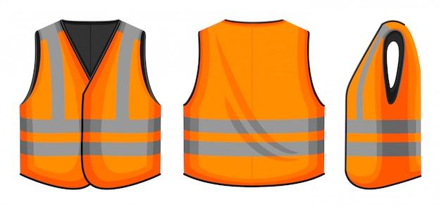 白い背景の上の安全ベストイラスト。ワーカー漫画のジャケットは、アイコンを設定します。孤立した漫画は、アイコンの安全ベストを設定します。