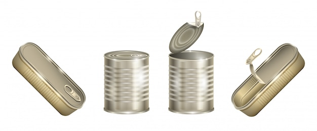 Металл может изолированный реалистичный набор значок. алюминиевый контейнер на белом фоне