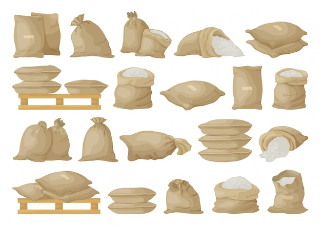 白い背景のファーマーバッグイラスト。孤立した漫画セットアイコン穀物袋
