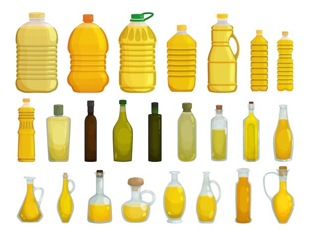 ひまわり油は白い背景のイラストを分離しました。漫画は、油のアイコンボトルを設定します。孤立した漫画セットアイコンひまわり製品。