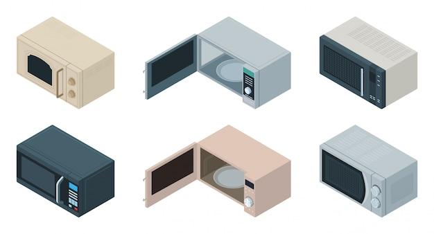 電子レンジ等尺性は、アイコンを設定します。白い背景の上の図のキッチンオーブン。孤立した等尺性セットアイコンマイクロ波。