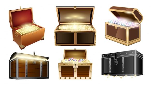 Сундук с сокровищами реалистичный набор иконок. иллюстрация на деревянной коробке золотом белом фоне. изолированные реалистичные набор иконок сундук с сокровищами.
