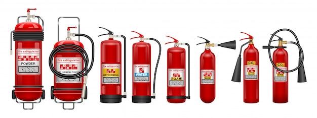 Огнетушитель реалистичный набор иконок. иллюстрация огонь защиты на белом фоне. реалистичный набор иконок огнетушителей.