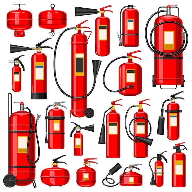 消火器漫画セットアイコン。孤立した漫画を消すための機器は、アイコンを設定します。白い背景の上の図の消火器。