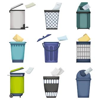 Можно мусор мультфильм установить значок. корзина для мусора на белом фоне. изолированный значок шаржа установленный может хлам.