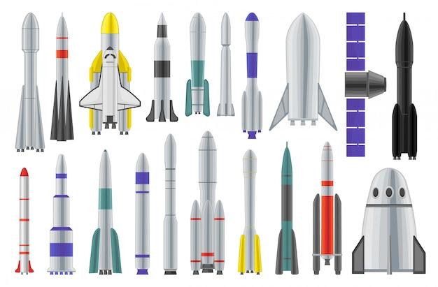 宇宙ロケット漫画は、アイコンを設定します。宇宙船分離漫画セットアイコン。白い背景の上の図の宇宙ロケット。