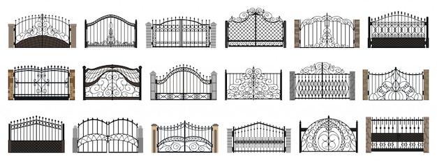 フェンスゲート分離漫画セットアイコン。漫画セットアイコン金属入口。
