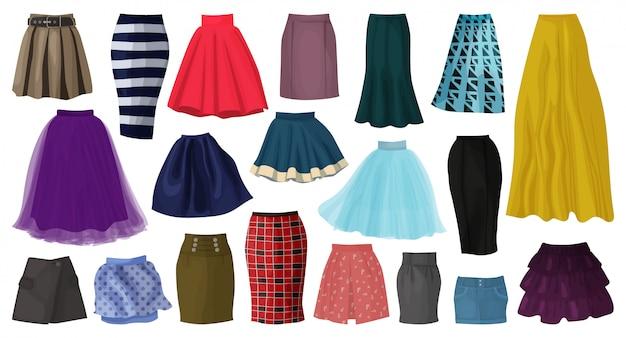 女性スカート漫画は、アイコンを設定します。孤立した漫画は、アイコンのファッションの服を設定します。