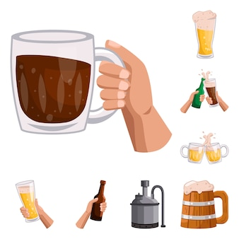 Пивной паб мультфильм элементы. установить элементы пинты в баре. изолированные иллюстрации алкогольный напиток и пинта.