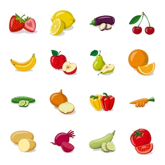 Набор иконок мультфильм производства фруктов, фрукты свежие продукты.