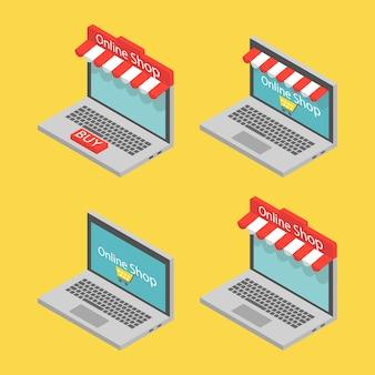Изометрические ноутбук, концепция интернет-магазина.