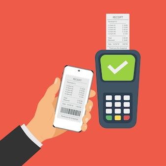 スマートフォンを使用したモバイル決済、非接触型決済。