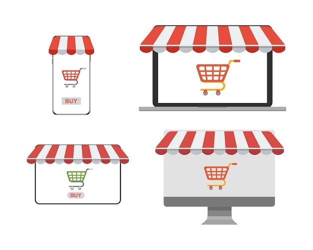 Концептуальный набор покупки в интернет-магазине через устройство