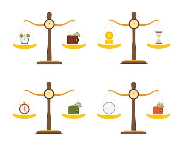 Концептуальный набор денег и баланса времени в масштабе.