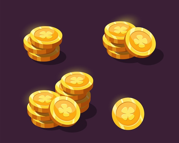 Монеты для игрового интерфейса. золотые монеты мультфильм для игрового дизайна.