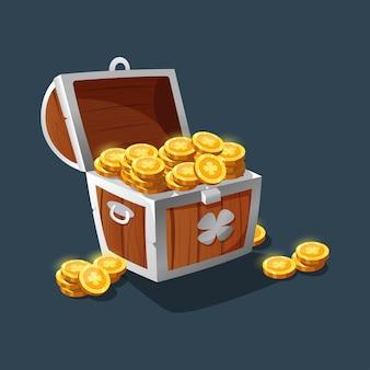 Сундук с золотом. старинный деревянный сундук с золотыми монетами. пиратский сундук с золотом. мультяшный старый сундук для интерфейса игры.