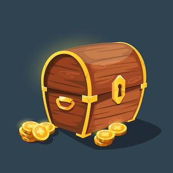 金の箱。ゴールデンコインとヴィンテージの木製のたんす。金で海賊の財源。ゲームインターフェースの漫画の古い胸。
