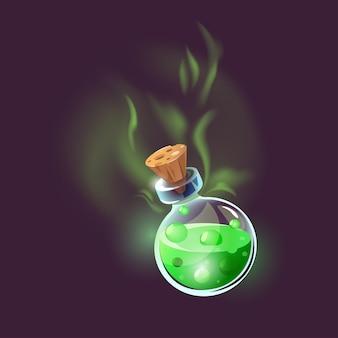 Бутылка волшебного зелья. волшебный значок эликсира для интерфейса игры.