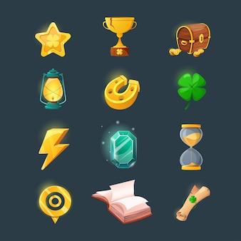 ゲームのユーザーインターフェイスデザインのさまざまなアイテムのセット。ファンタジーゲームの漫画の魔法のアイテムとリソース。金貨、本、キャンドル、宝石、胸、クローバー。