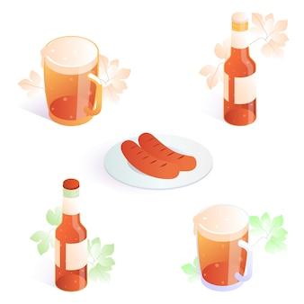 Пивной бокал с колбасками на тарелке