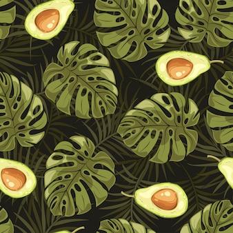 熱帯の葉とフルーツアボカドパターン。
