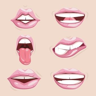 分離された魅惑的な女性の唇のセット