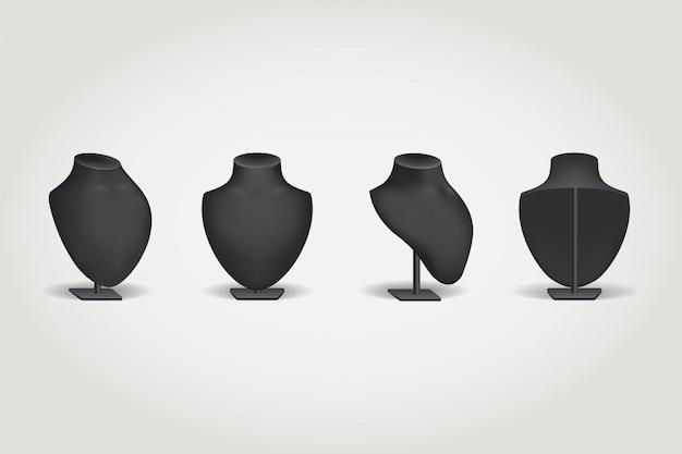 Черный бюст для ожерелий, манекен для бижутерии.