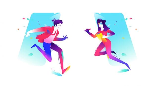 Иллюстрация парня и девушки