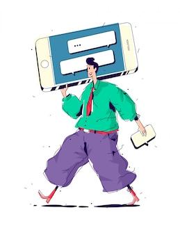 大きなスマートフォンを持つ男性