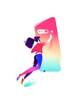 少女とスマートフォンのイラスト