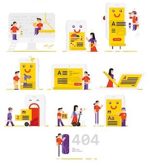 Иллюстрации персонажей, участвующих в разработке мобильных приложений.