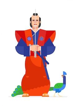 漫画のフラットスタイルで描かれた侍。ベクター。