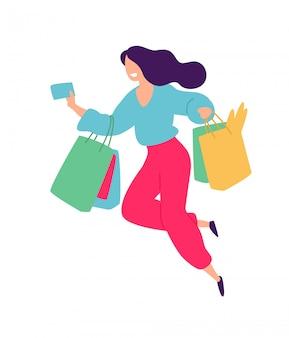 買い物を持つ少女のイラスト。