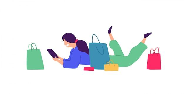 Иллюстрация девушки с покупками.