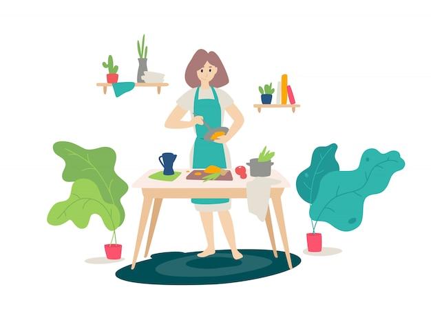 Иллюстрация девушки в фартук приготовления пищи на кухне