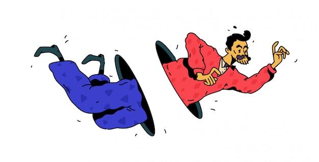 穴やポータルを飛んでいる男。