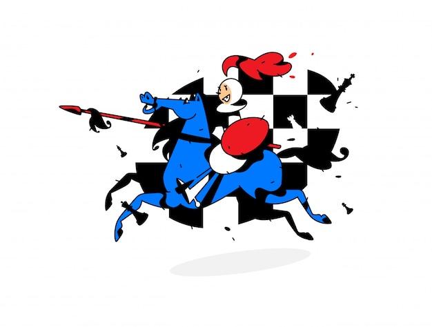 チェスのキャラクター、馬に乗ってポーンします。