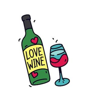 ワインのボトルとグラス。