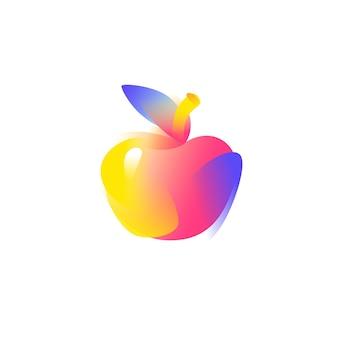 Иллюстрация яблоко. градиент плоский значок.