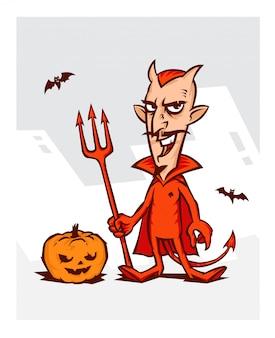 ハロウィーンの休日のための悪魔のイラスト。
