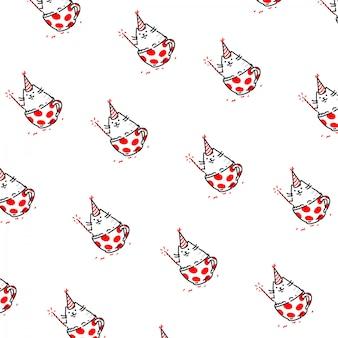 Мультяшный смешной кот бесшовные модели, орнамент.