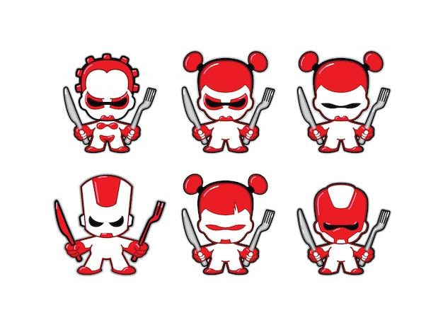 Персонажи-роботы будущего с ножом и вилкой.