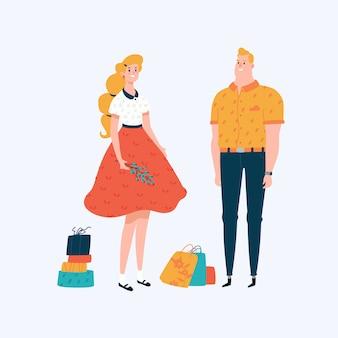 漫画の男と女。店のヒーローとマスコット。