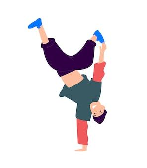 Иллюстрация парня танцуя вверх ногами.