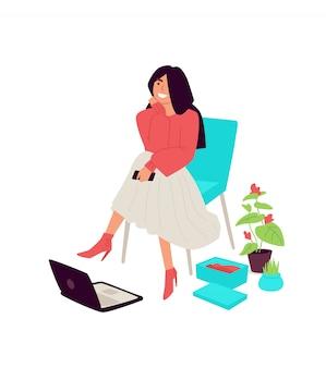 椅子に座っているかわいい女の子のイラスト。